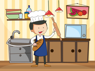 Chef in the kitchen scene with equipments