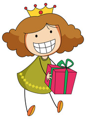 A doodle kid holding a gift box cartoon character isolated