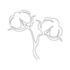 Cotton flower Continuous one line art. Minimalist fiber flower for logo, icon emblem or web banner. Beauty design element. Modern vector illustration