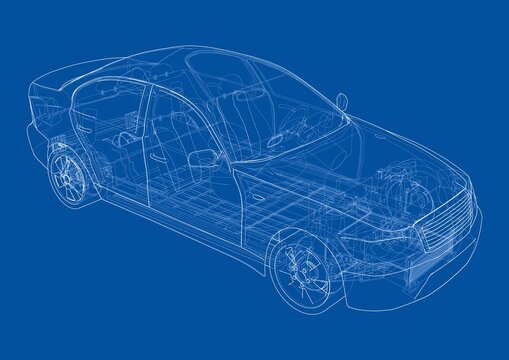 Electric Car With Chassis. Vector rendering of 3d