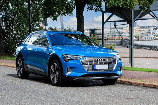 Blue Audi E-tron 55 Quattro Fully Electric SUV