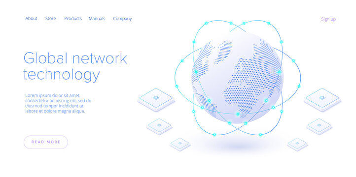 Global network technology in isometric vector illustration. World internet connection or social media online communication concept. Web banner layout template.