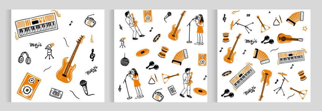 set of patterns of musical instruments. Music, sheet music, a girl singing, a guy playing the saxophone. doodle style. tape recorder, guitar, microphone, drum, accordion, synthesizer