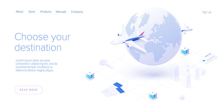 Travelling by air concept in isometric vector illustration. Around the world flight tour or trip. Cheap airline tickets searching and booking service. Website layout or web banner template.