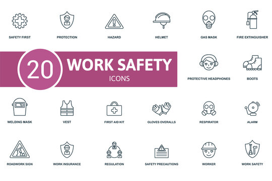 Work Safety icon set. Contains editable icons work safety theme such as protection, helmet, fire extinguisher and more.