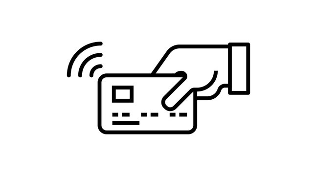 Tap to pay card hand nfc payment Contactless pass . Modern contactless symbol vector icon illustration