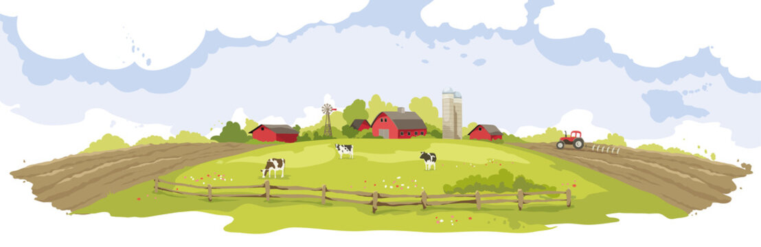 Abstract landscape -- american farm / Vector illustration, rural view -- fields and meadows, springtime.