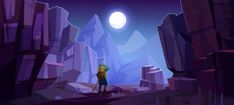 Hiker man on road in mountains at night. Vector cartoon landscape of nature park with canyon, stone cliffs, rocks, moon in sky and tourist with backpack for hiking on path