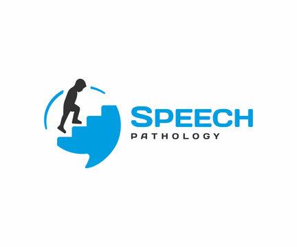 Speech pathology logo design. Speech therapy vector design. Сhild climbing stairs in speech bubble logotype