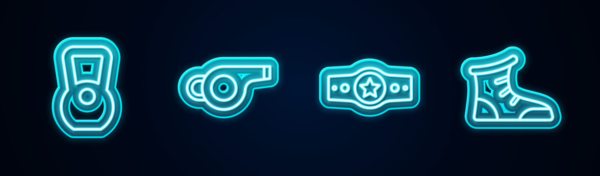 Set line Kettlebell, Whistle, Boxing belt and Sport boxing shoes. Glowing neon icon. Vector.
