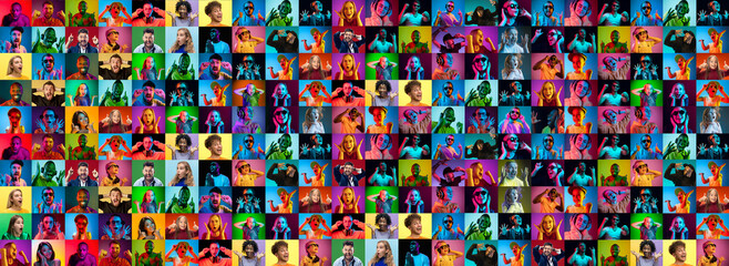 Obraz Collage of faces of surprised people on multicolored backgrounds. Happy men and women smiling. Human emotions, facial expression concept. Different human facial expressions, emotions, feelings. Neon - fototapety do salonu