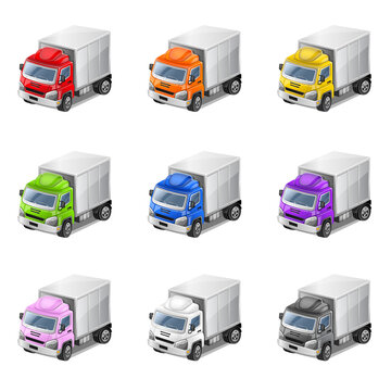 Colorful 3D trucks. Vector Illustration.