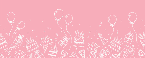 Obraz Fun hand drawn party seamless background with cakes, gift boxes, balloons and party decoration. Great for birthday parties, textiles, banners, wallpapers, wrapping - vector design - fototapety do salonu