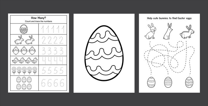 Easter Worksheets set with cute bunnies and chicks. Black and white spring activity pages collection for kids. Coloring page with rabbit and eggs. Easter writing practice. Vector illustration