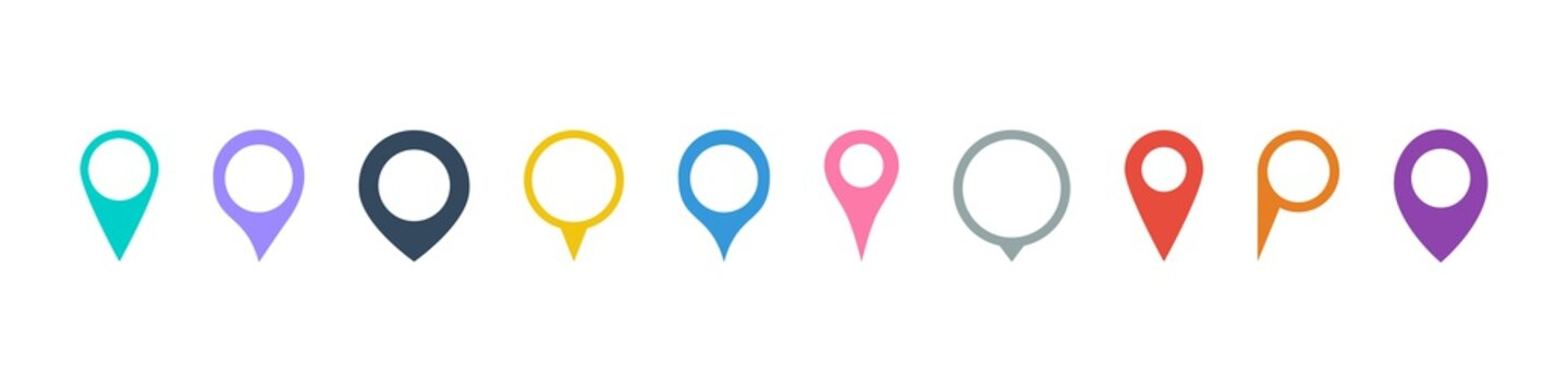 Set of pointers to the map. Set of pictograms. Location Icon. Collection of simple markers. Map icon