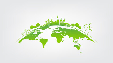 Fototapeta Ecology concept with green city on earth, World environment and sustainable development concept obraz