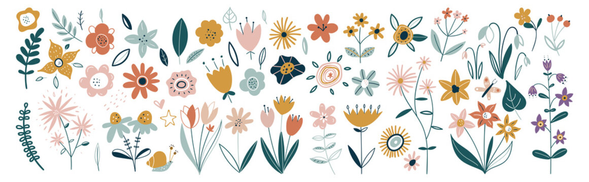 Flower collection with leaves, floral bouquets. Vector flowers. Spring art print with botanical elements. Happy Easter. Folk style. Posters for the spring holiday. icons isolated on white background.