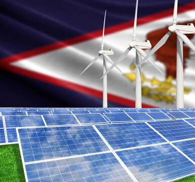 Solar panels on the background with the flag of American Samoa and Wind Turbine