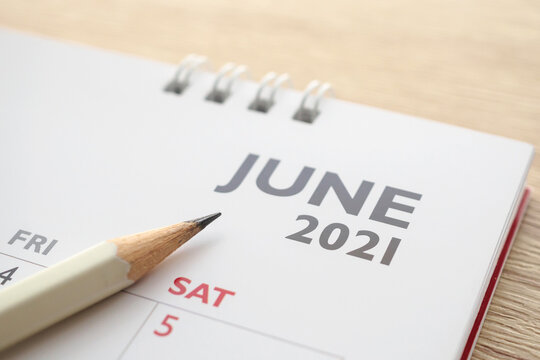 June month on 2021 calendar page with pencil business planning appointment meeting concept