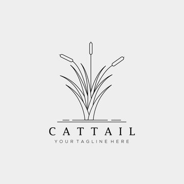 minimalist cattails line art logo vector illustration design