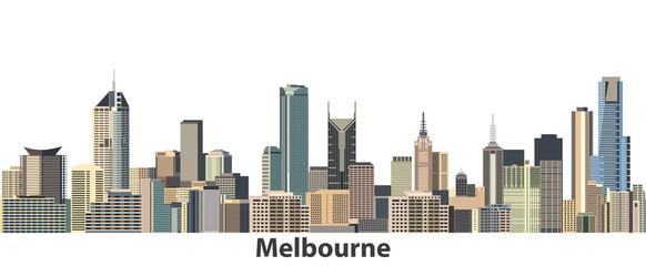 Melbourne vector city skyline - fototapety na wymiar