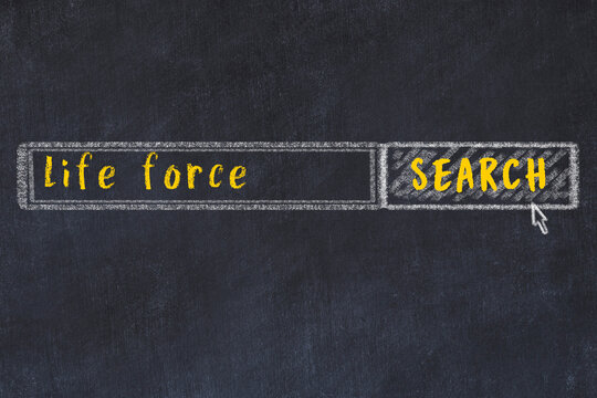 Search engine concept. Looking for life force. Simple chalk sketch and inscription