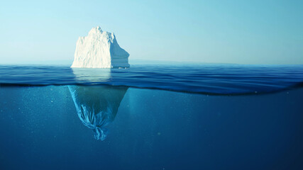 Iceberg with a plastic garbage bag underwater, the concept of pollution of the oceans and nature....