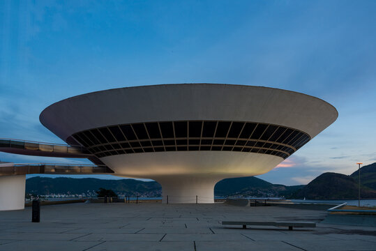 Niteroi, Brazil - January 24, 2021: Oscar Niemeyer's Contemporary Art Museum, a masterpiece of modern architecture, built in 1996.
