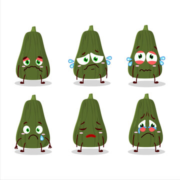 Squash cartoon in character with sad expression