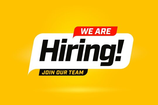 Hiring recruitment open vacancy design info label template. We are hiring join to team announcement lettering in speech bubble chat box vector illustration isolated on yellow background