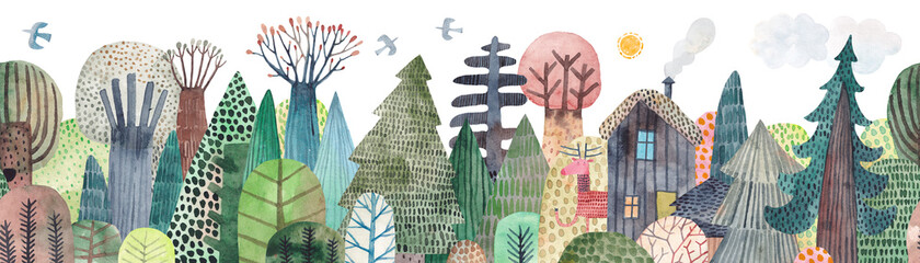 House in the forest. Cute watercolor illustration. Abstract forest. Wildlife. Forest view. Horizontal repeating border.