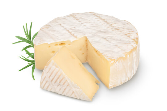 Camembert cheese isolated on white background with clipping path and full depth of field