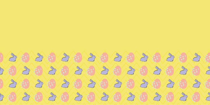 Easter Egg Bunny Frame Border Seamless Patten