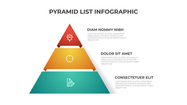 Pyramid list infographic template vector with 3 layers. Layout element for presentation, report, banner, etc.