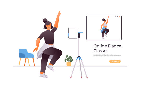 female dancer doing dancing exercises while watching online video training program with dance teacher workout concept isolated full length horizontal copy space vector illustration