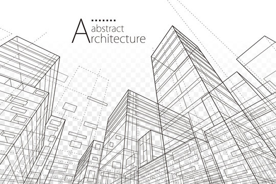 Architecture building construction perspective line drawing design abstract background.