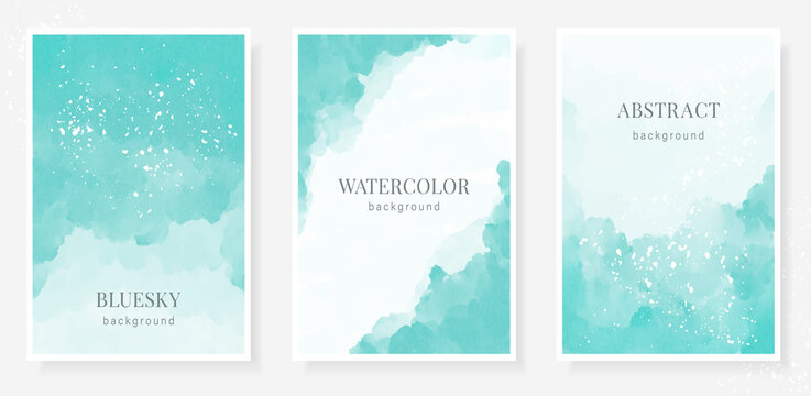 Abstract art blue sky vector illustration watercolor background with frame for text and splashes, streaks and paint stains. Business design template for banner,sale promotion, social media publication
