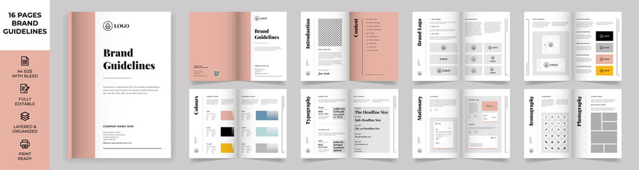 Fototapeta Brand Manual Template, Simple style and modern layout Brand Style , Brand Book, Brand Identity, Brand Guideline, Guide Book obraz