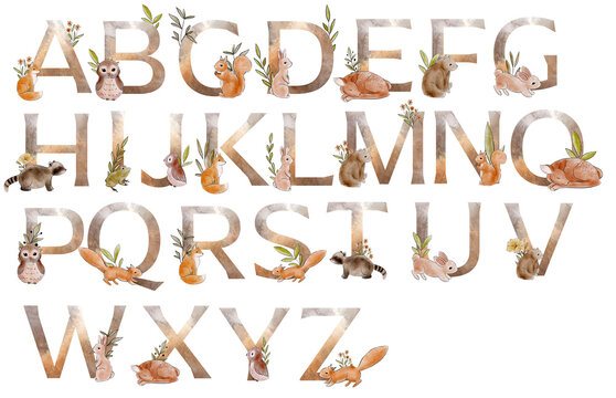 Watercolor alphabet with forest animals and floral