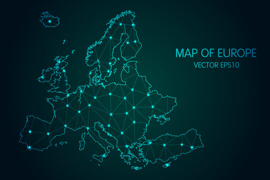 Map of Europe - With glowing point and lines scales on The dark gradient background, 3D mesh polygonal network connections.Vector illustration Eps 10.