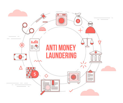 aml anti money laundering concept with icon set template banner with modern orange color style and circle round shape