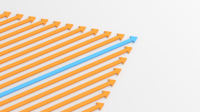 Leadership concept, blue leader arrow leading orange arrows, on white background. 3D Rendering