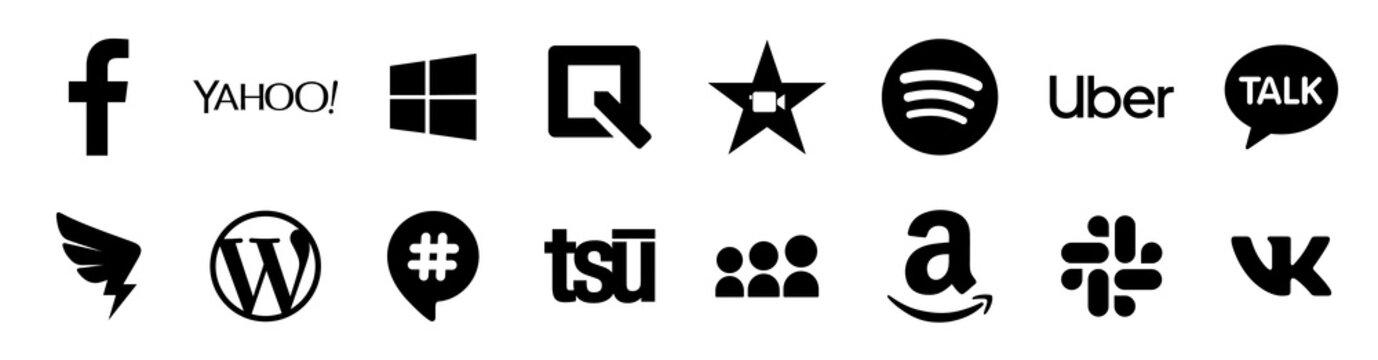 Black popular social media and other icon symbols