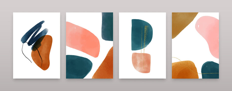 Organic watercolor shapes composition set. Abstract minimalist banner collection, trendy glitter decoration and paint texture doodles in soft earth tones. Fashion brochure, copy space poster bundle.