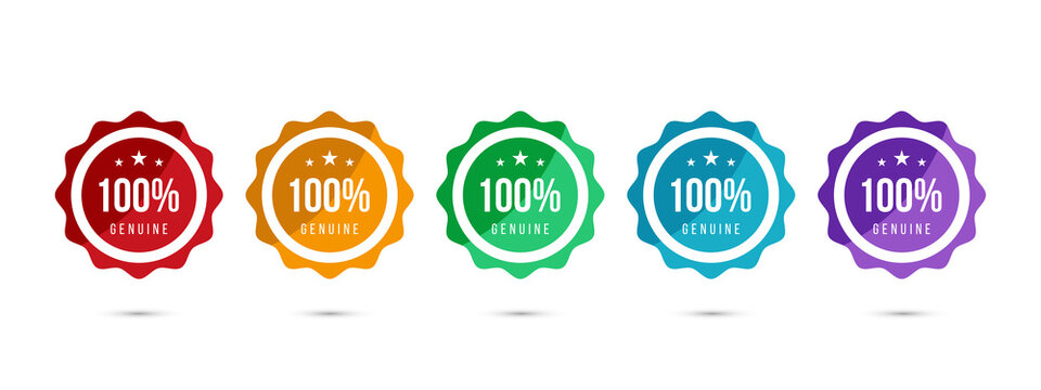100% genuine logo or icon badge with stars in rounded guarantee shape. Get used to Certified, Guarantee, Warranty, Assurance, etc. Vector illustration design template.