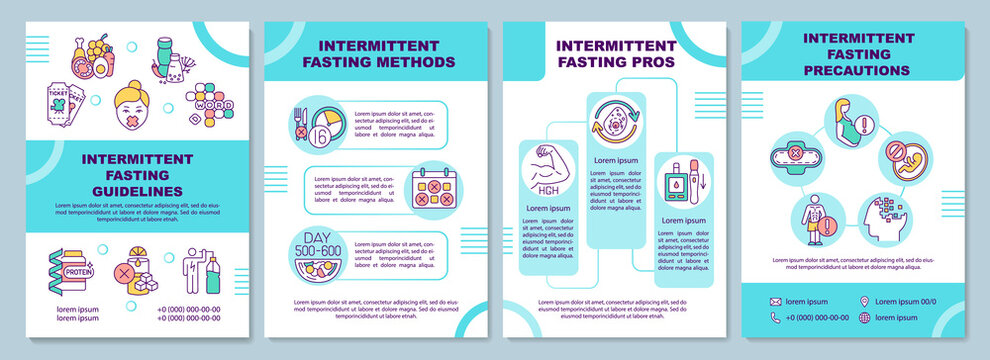 Intermittent fasting guidelines brochure template. Pros, precautions. Flyer, booklet, leaflet print, cover design with linear icons. Vector layouts for magazines, annual reports, advertising posters