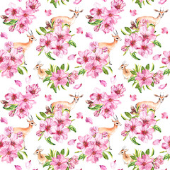 Fototapeta Deer animals in pink spring flowers. Cherry blossom, antelope. Seamless floral pattern. Watercolor repeated background obraz