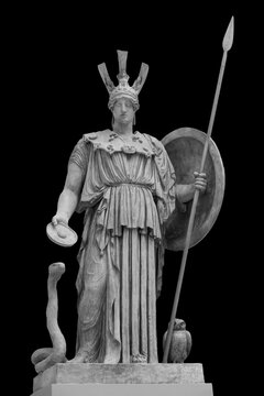 Ancient Greek Roman statue of goddess Athena god of wisdom and the arts historical sculpture isolated on black. Marble woman in helmet sculpture