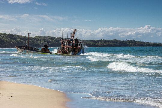 Shipwreck on a paradise beach