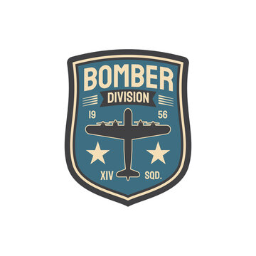 Bomber division army chevron insignia of interceptor plane squad isolated military patch with aviation plane. Vector military aircraft, wwii plane, supermarine spitfire, airplane jet fighter